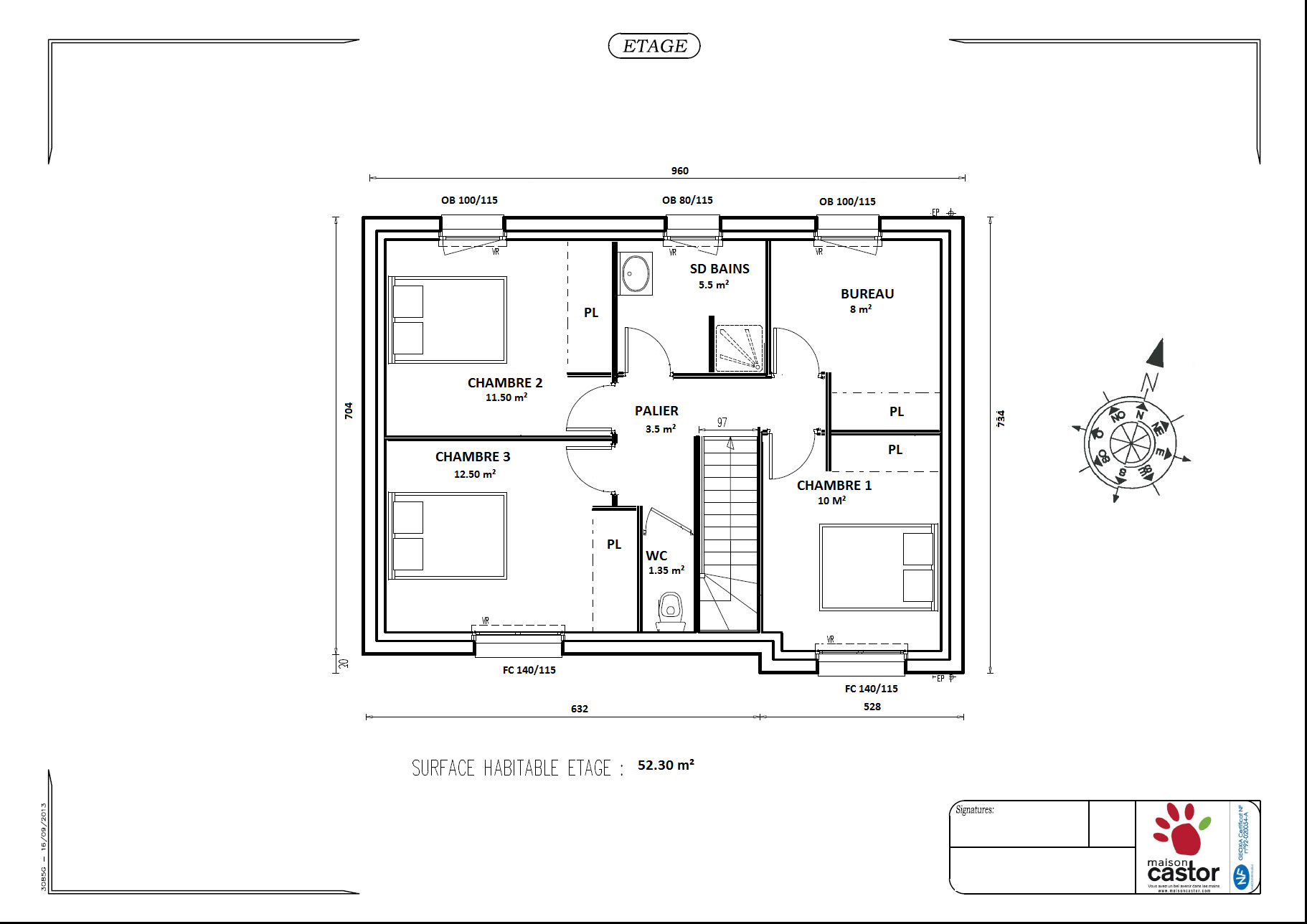 Plan maison r 1 de 92m2 13 messages for Plan maison avec combles